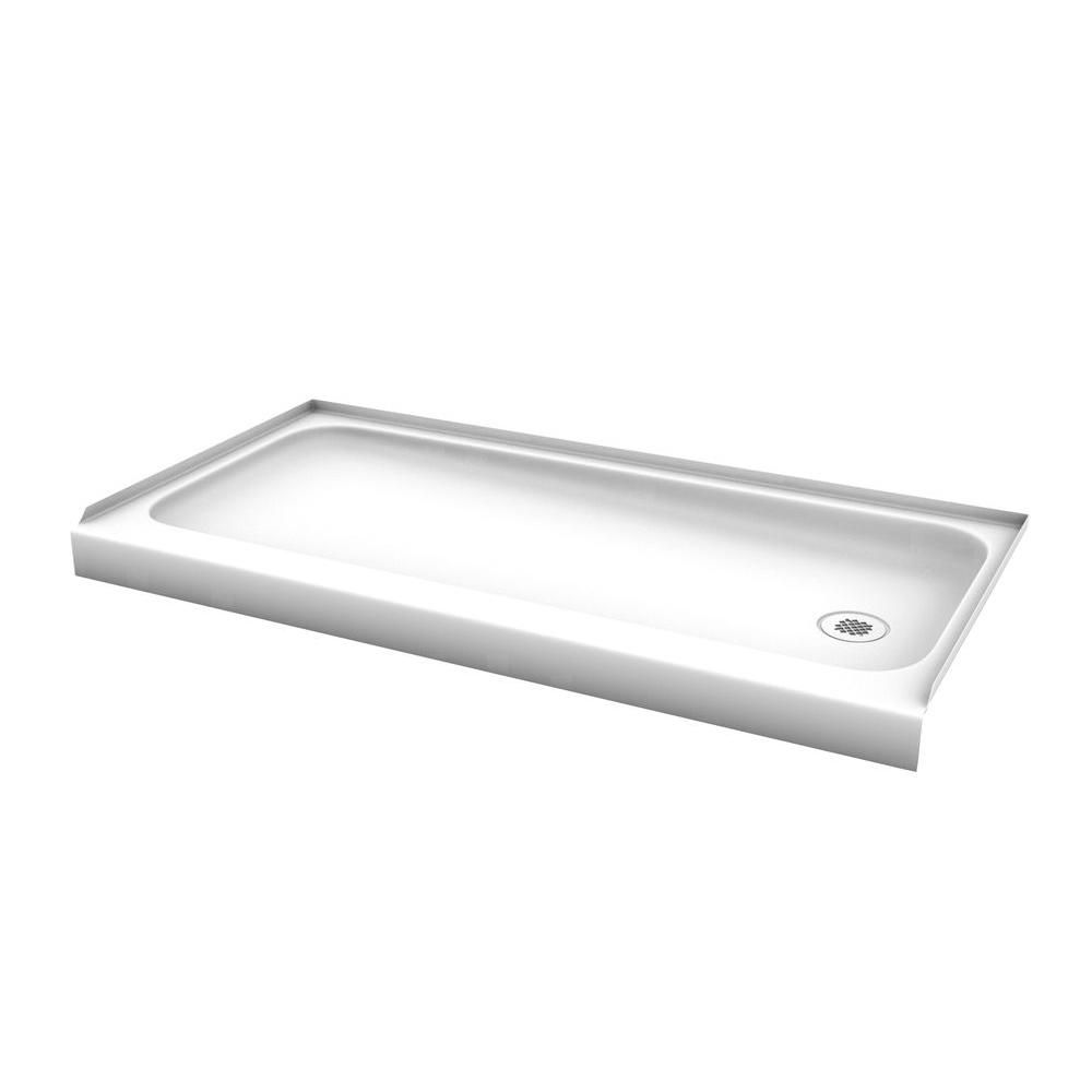 Captivating Bootz Industries ShowerCast 60 In. X 30 In. Right Drain Single Threshold Shower  Base In White