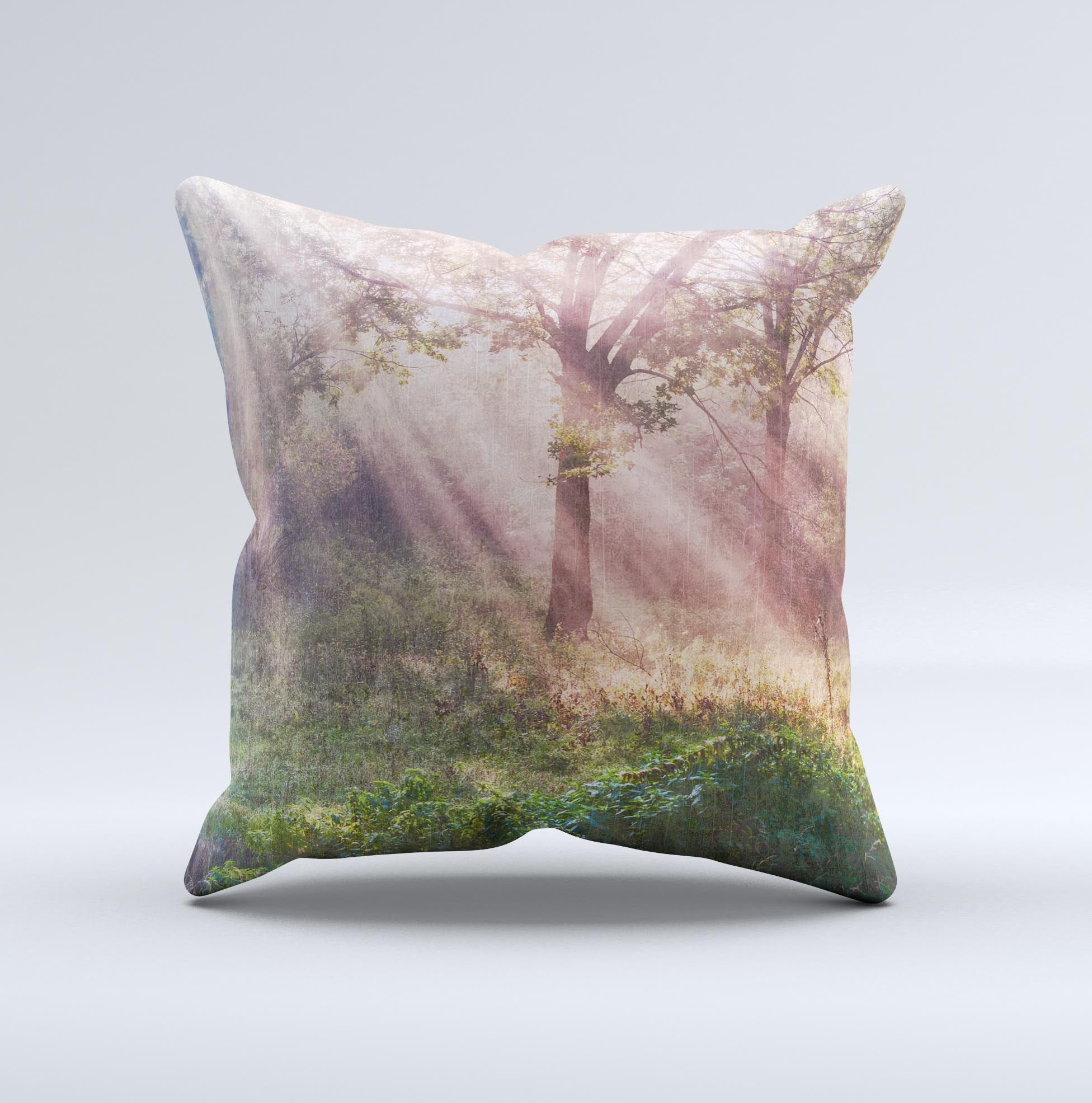 Pink Sun Ray Meadow Ink-Fuzed Decorative Throw Pillow from DesignSkinz