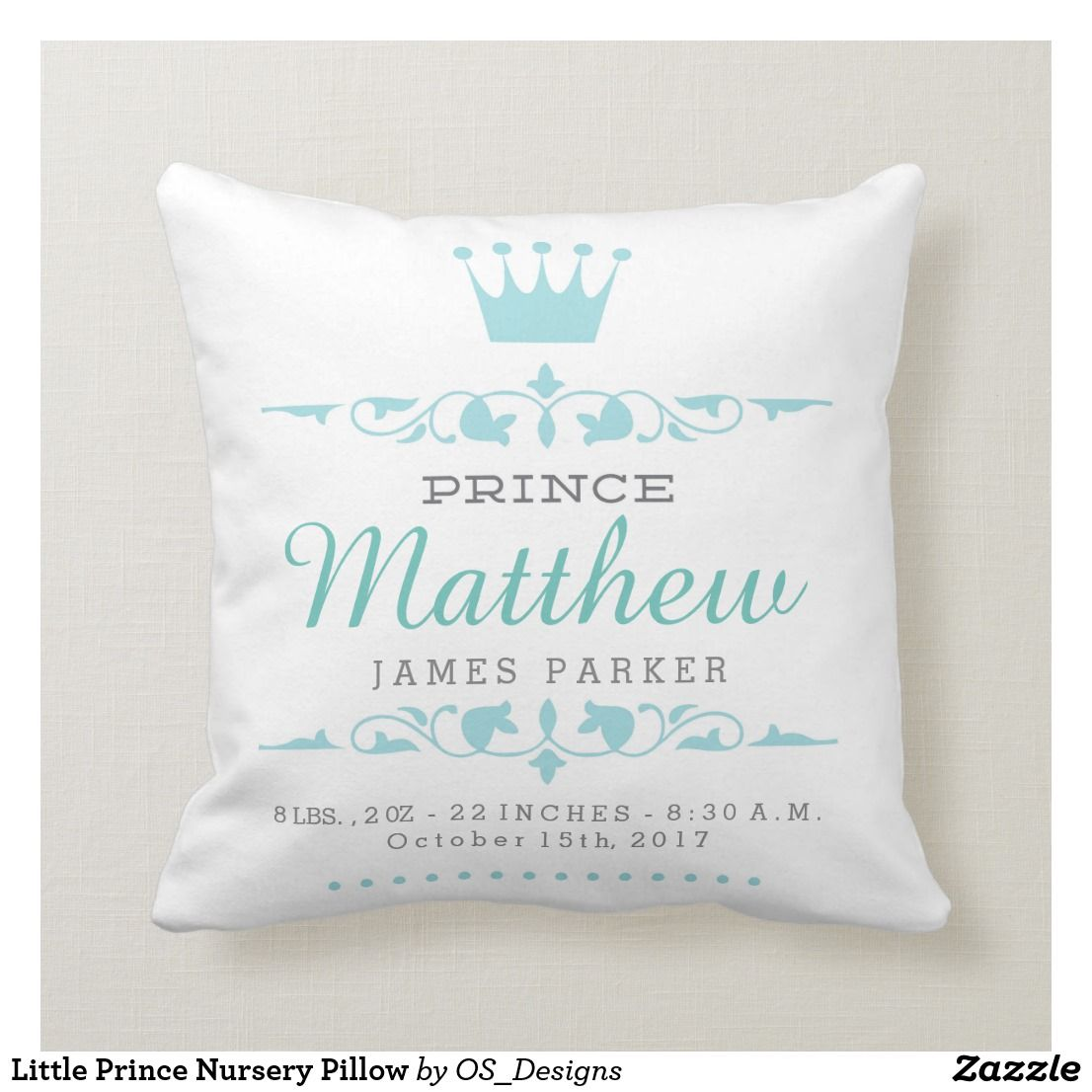 Personalised baby embroidered little prince cushion pillow BABY SHOWER