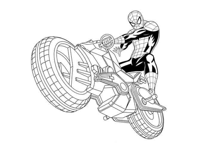 Spiderman Motorcycle Coloring Pages in 2020 | Spiderman ...