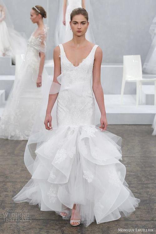 Featuring: Monique Lhuillier Spring 2015 Wedding Dresses