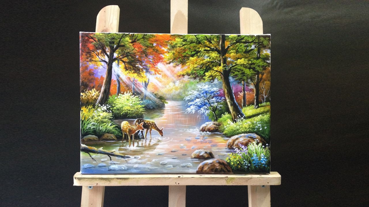1 46 07 deer drinking stream water acrylics painting art for Acrylic mural painting techniques