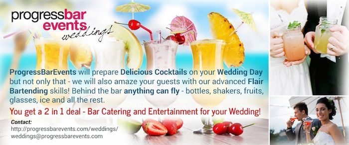 If you are looking for the best Bar & Cocktail Catering for your Algarve Wedding you're in the right place! We will prepare delicious cocktails on your Special Day and we will take care of the organisation process so you don't have to worry about anything! You will be served by the Best Bartenders in the country which will be making a memorable Flair Show behind the bar and entertaining your guests while serving their favorite drinks…