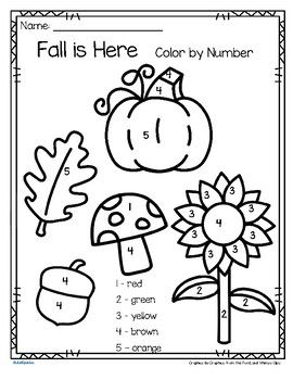fall is here color by number printables 3 pages education numbers preschool kindergarten. Black Bedroom Furniture Sets. Home Design Ideas