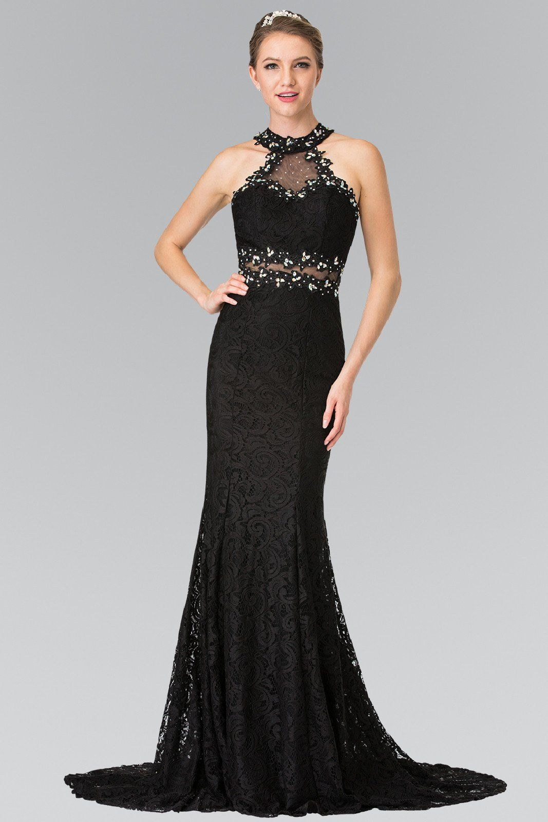 Fitted lace mermaid formal dress with beaded halter neckline and