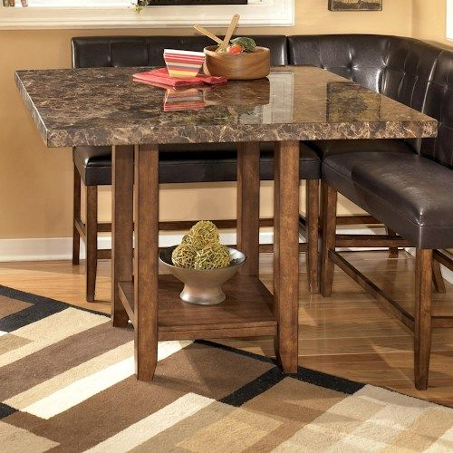 Lacey Faux Marble Square Counter Height Pub Table By Signature Design By Ashley At Marlo Furniture Brown Dining Table Dining Table In Kitchen Dining Table