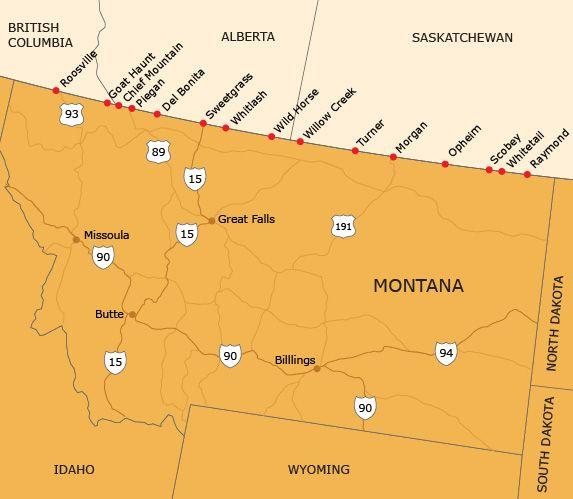 Montana Canada Border Crossings Map Welcome   Transport Canada | Big sky country, Montana, Opheim