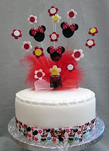Minnie Mouse With Flowers Cake Topper Red Yellow Black https