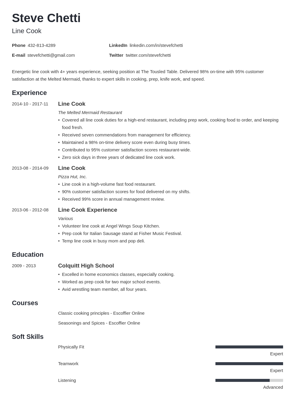 line cook resume example template minimo in 2020 Job