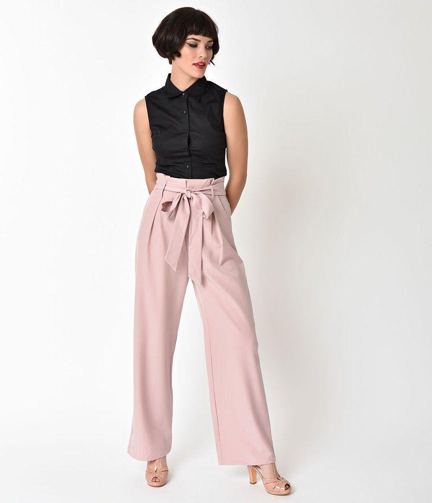 5b9af54a394 1940 s Blush Pink High Waist Wide Leg Trousers