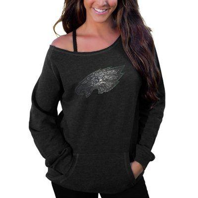127e64759ad Women's Philadelphia Eagles Cuce Black Sideliner II Crew Sweatshirt ...