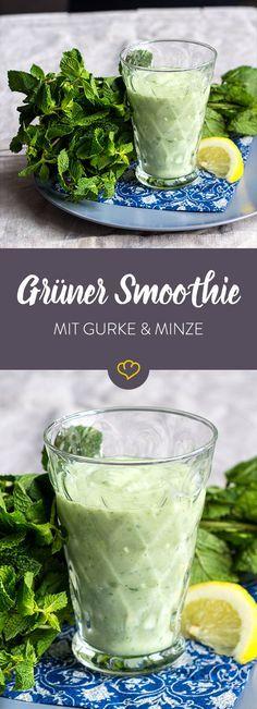 Grüner Smoothie mit Gurke und Minze #proteinshakes