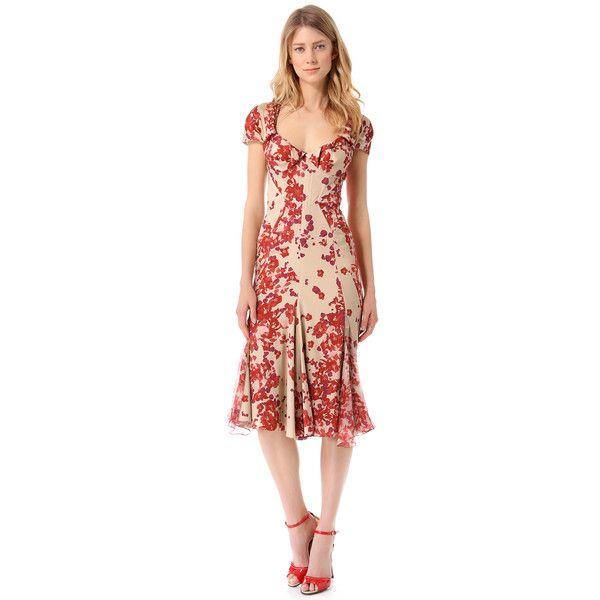 Zac Posen Short Sleeve Print Dress ($3,990) ❤ liked on Polyvore