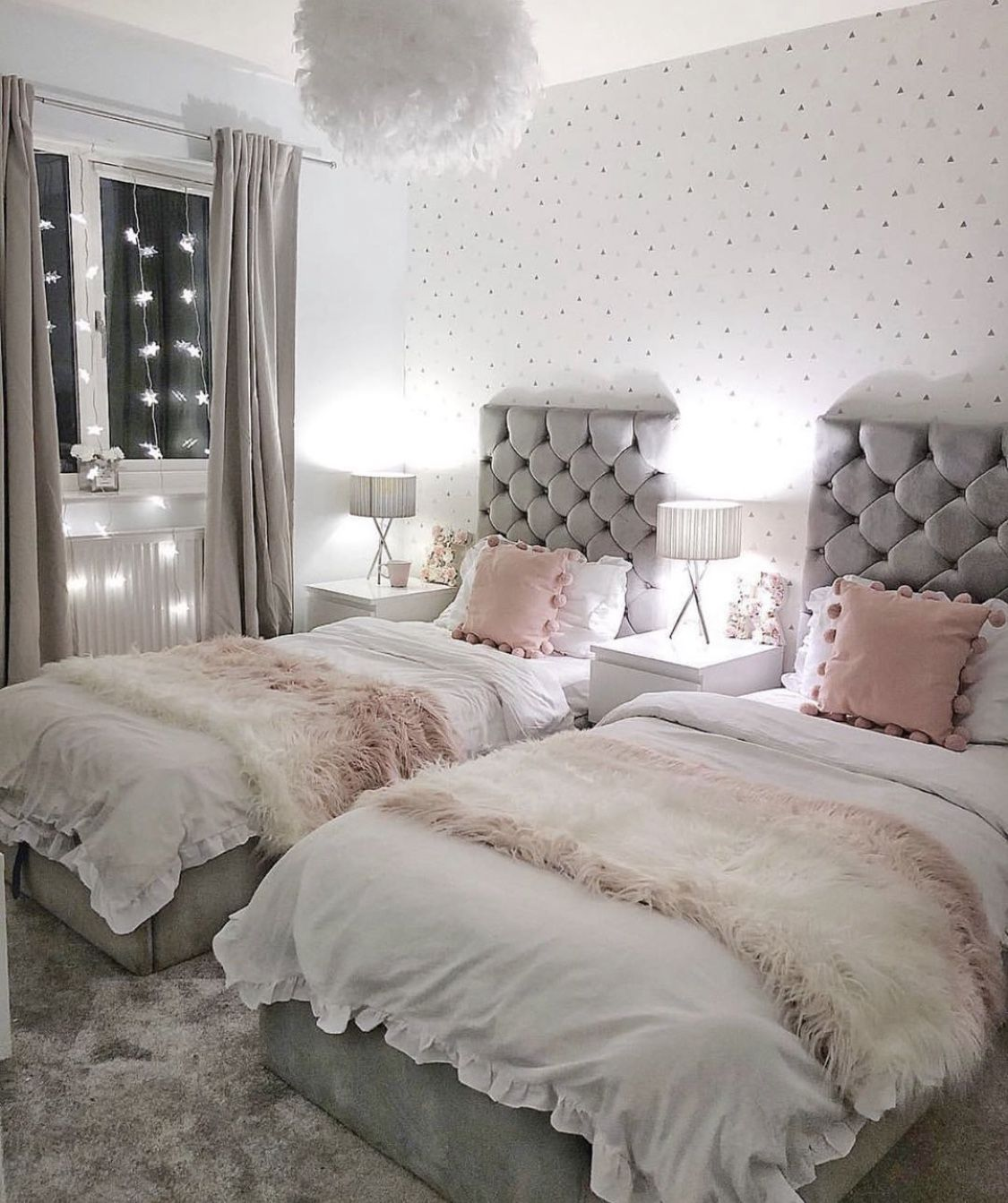 A Bedroom Make Over For 2 Sisters Lucky Plot 13 In 2020 Shared Girls Bedroom Twin Girl Bedrooms Shared Girls Room