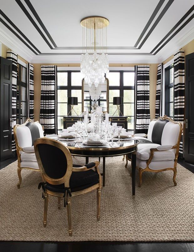 Black And White Stripe Curtains In A Glamorous Dining Room By Interior  Designer Megan Winters,