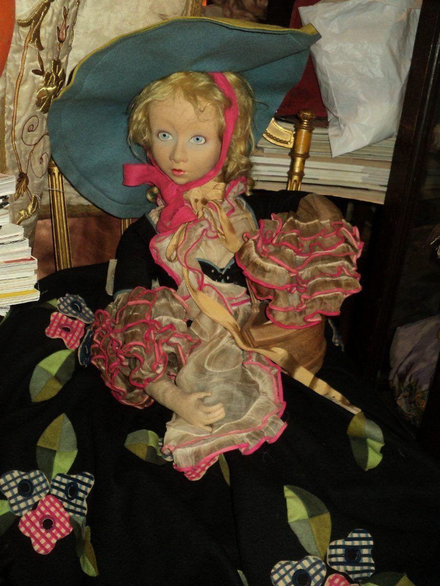 Original Lenci Cloth Doll Boudoir 29 Inches 1920 1930 S