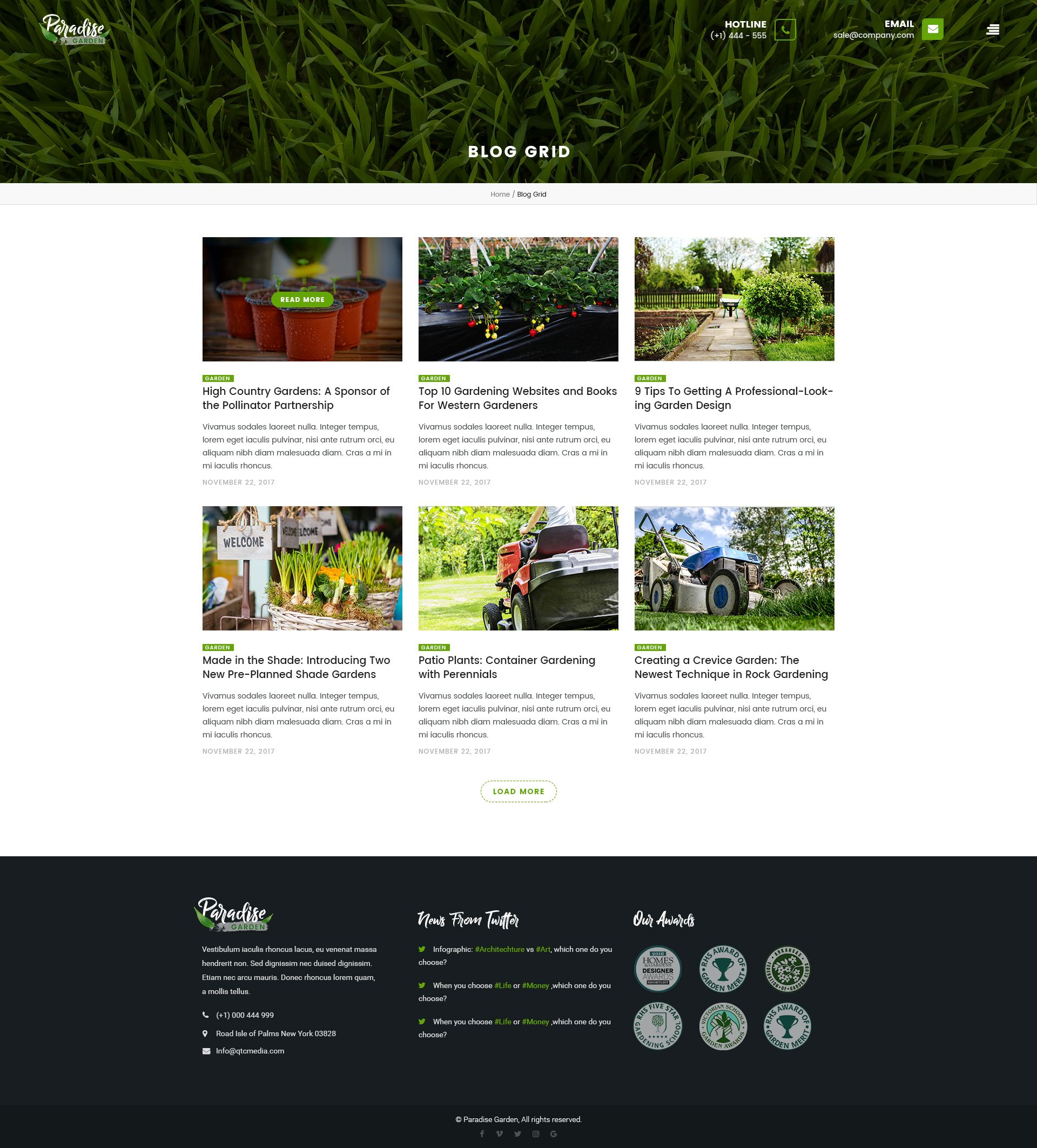 Paradise Garden Gardening And Landscaping Psd Template Psd