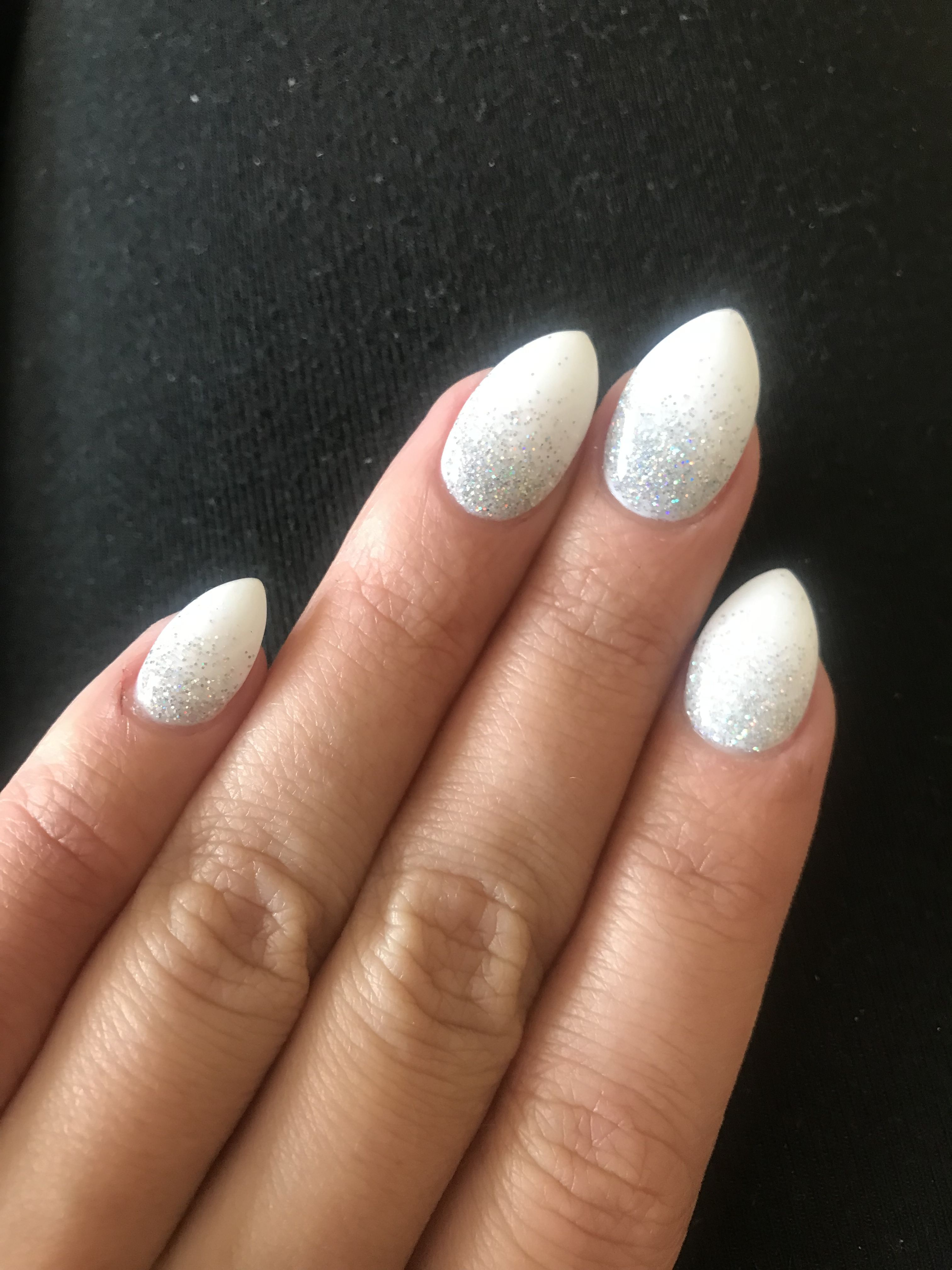 Ombré nails white and iridescent silver. Glitter. Coffin. Almond ...