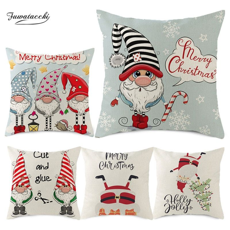 Cheap Cushion Cover Buy Directly From China Suppliers Fuwatacchi Christmas Cushion Cover Lin Throw Pillow Cases Christmas Cushion Covers Printed Throw Pillows