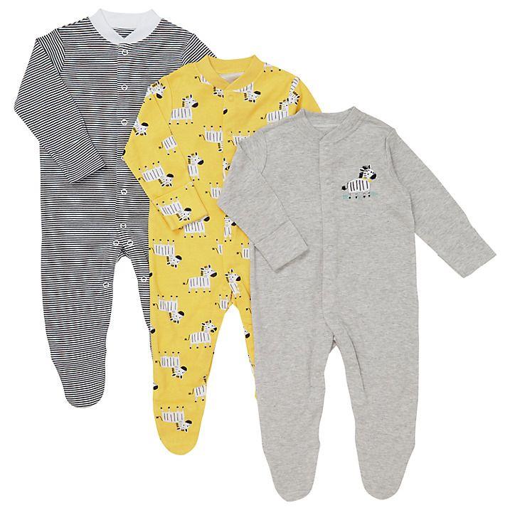 John Lewis & Partners Baby Zebra Sleepsuits, Pack of 3 ...