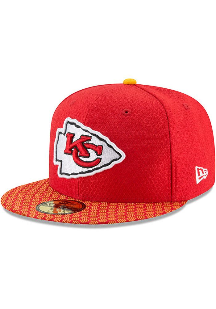 8952a232645 New Era Kansas City Chiefs Mens Red 2017 Official Sideline Fitted Hat -  5903714