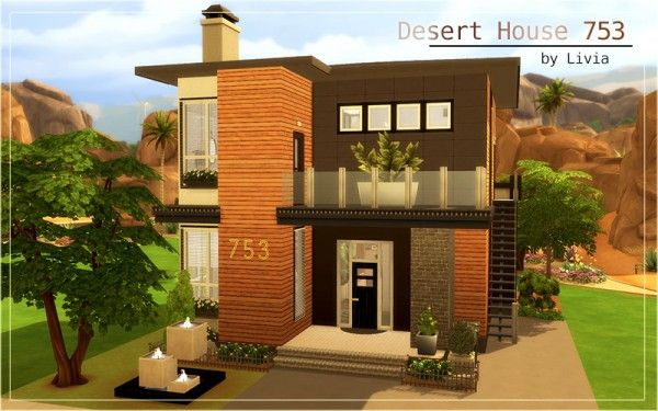 Homeless Sims Desert House 753 Sims 4 Downloads Sims 4 Houses Sims 4 Modern House Sims 4 House Plans