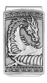 """'Gothic Celtic Dragon' Pewter Panel Silver Tone Money Clip. This money clip is made of chrome plated steel with silver mirror finish, riveted sprung stainless steel design. It's embellished with a 3-D 'Gothic Celtic Dragon' panel emblem made of lead-free fine pewter and made in the USA, copyrighted art design. Money clip measures: Length 2-1/8"""" x Width 1-1/4"""". Comes in a silver foil gift box."""