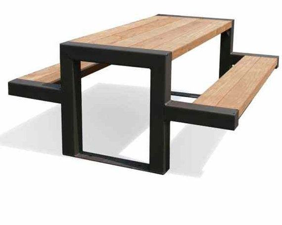 Steel Picnic Table Can Be Painted Any Color Stained Wood Top And Seats Mueblecitos Petit Meuble Bois Metal Diy Meuble Et Mobilier De Salon