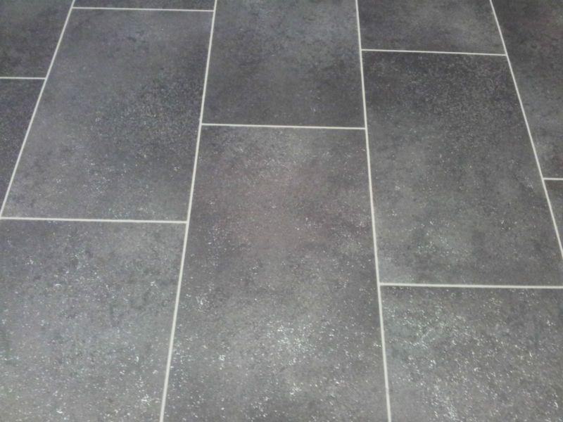 black vinyl floor tiles | BLACK TILE EFFECT CUSHION-FLOOR VINYL ...