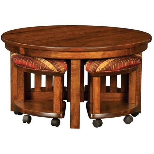 Amish Mission Round Coffee Table And Stool Set With Hydraulic Lift 1 620 Liked