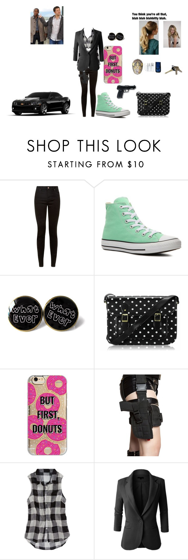 """""""Sharlene meeting Shawn and Gus in HQ"""" by queenofwordsandplots ❤ liked on Polyvore featuring Converse, FC Select Vegan Bags, All Black, Avon, Agent 18, American Eagle Outfitters, LE3NO and Pandora"""