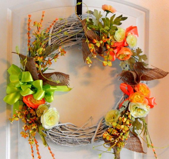 Burlap Grapevine Wreath, Silk Flowers, Seasonal Wreath, Summer Wreath,Spring  Wreath,. Front Door ...