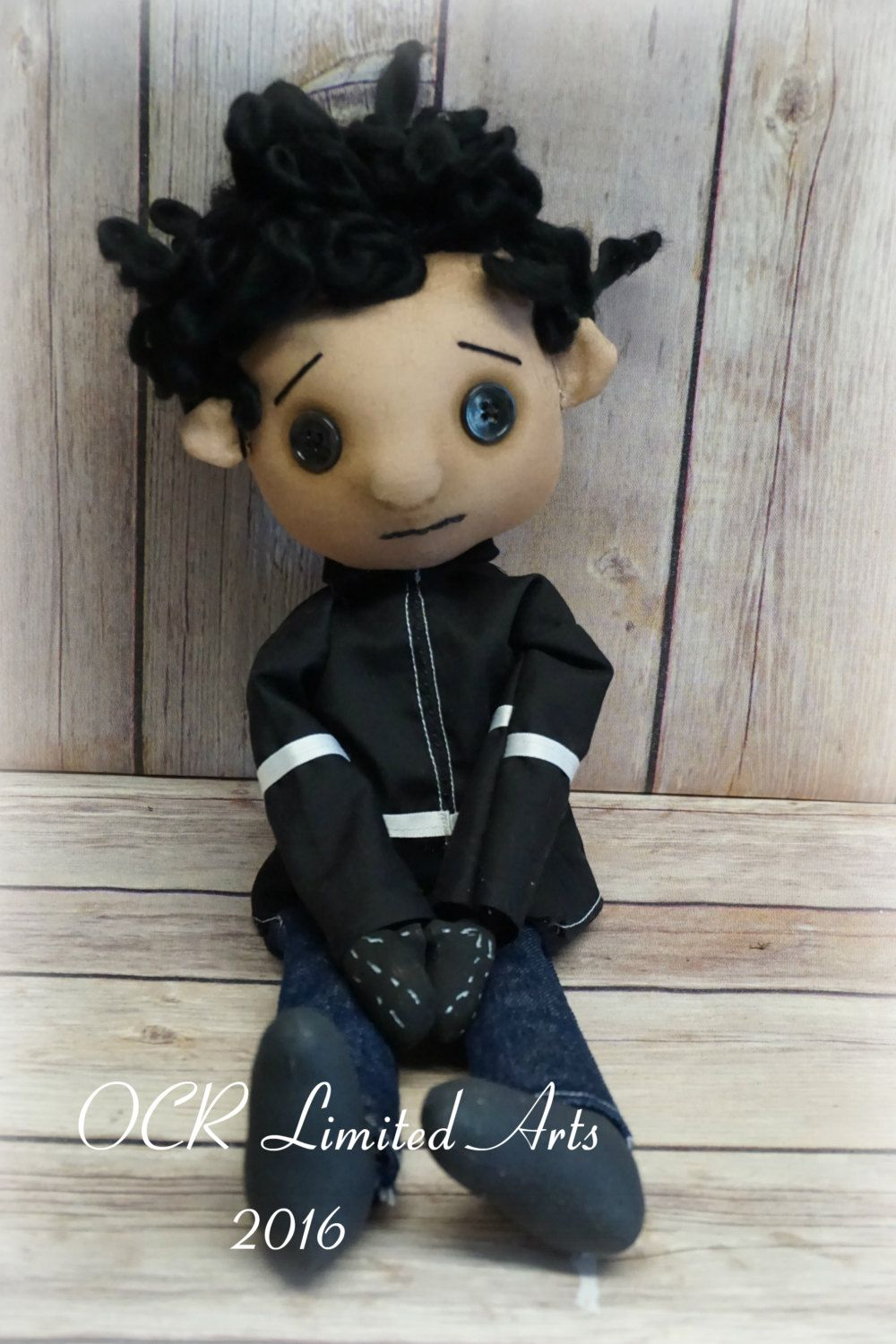 Wybie Lovat Button Eye Doll Coraline Inspired Creepy Cute Art Dolls Cloth Art Dolls Handmade Ornamental Dolls