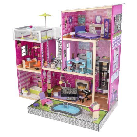 Kidkraft Uptown Dollhouse With 36 Accessories Included Walmart Com Wooden Dollhouse Barbie Dream House Doll House