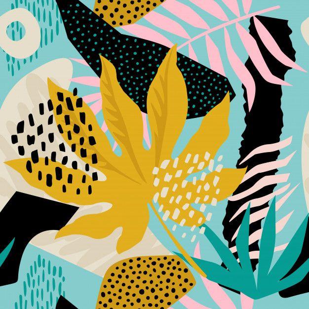 Teste Padrão Havaiano Floral Contemporâneo Da Colagem No Vetor. Design De Superfície Sem Emenda. #surfacedesign