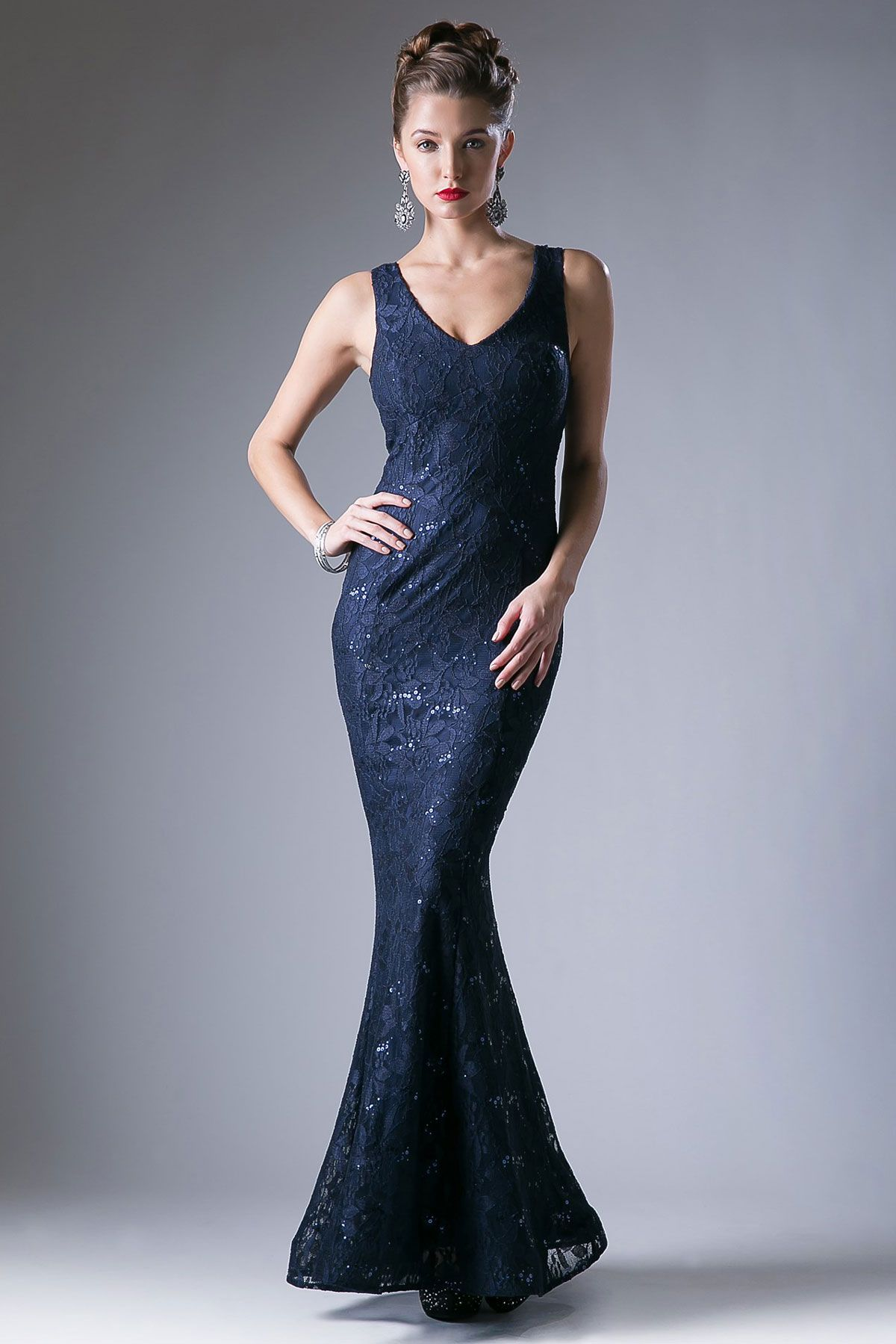 Elegant sheath shape lace evening dress with sequin accent has