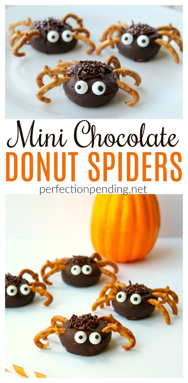 Mini Chocolate Donut Spiders - Perfection Pending #halloweenbreakfastforkids