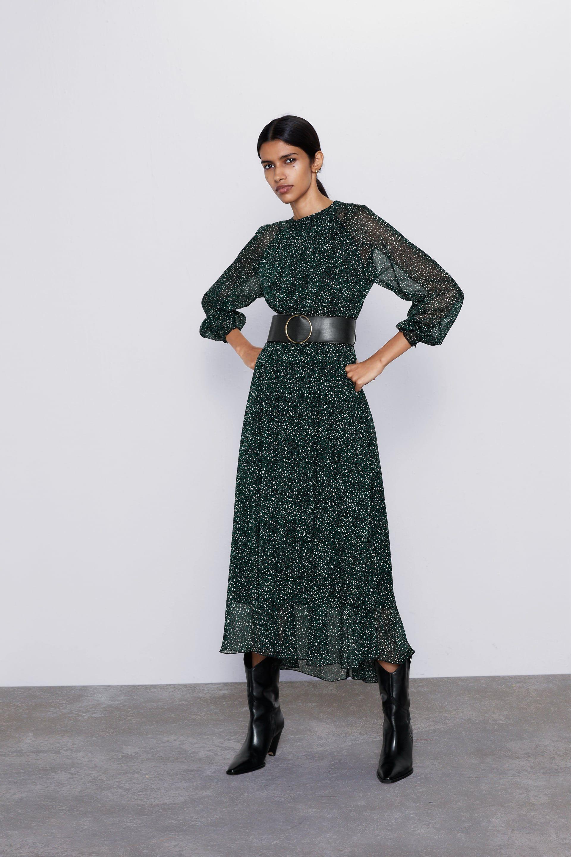 zara - mujer - vestido estampado cinturÓn | kleider damen