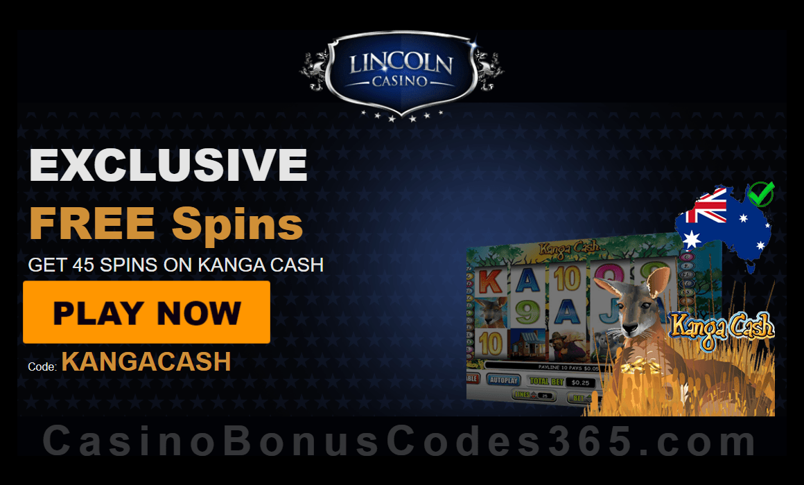 Lincoln Casino Exclusive 45 FREE Kanga Cash Spins Special Deal