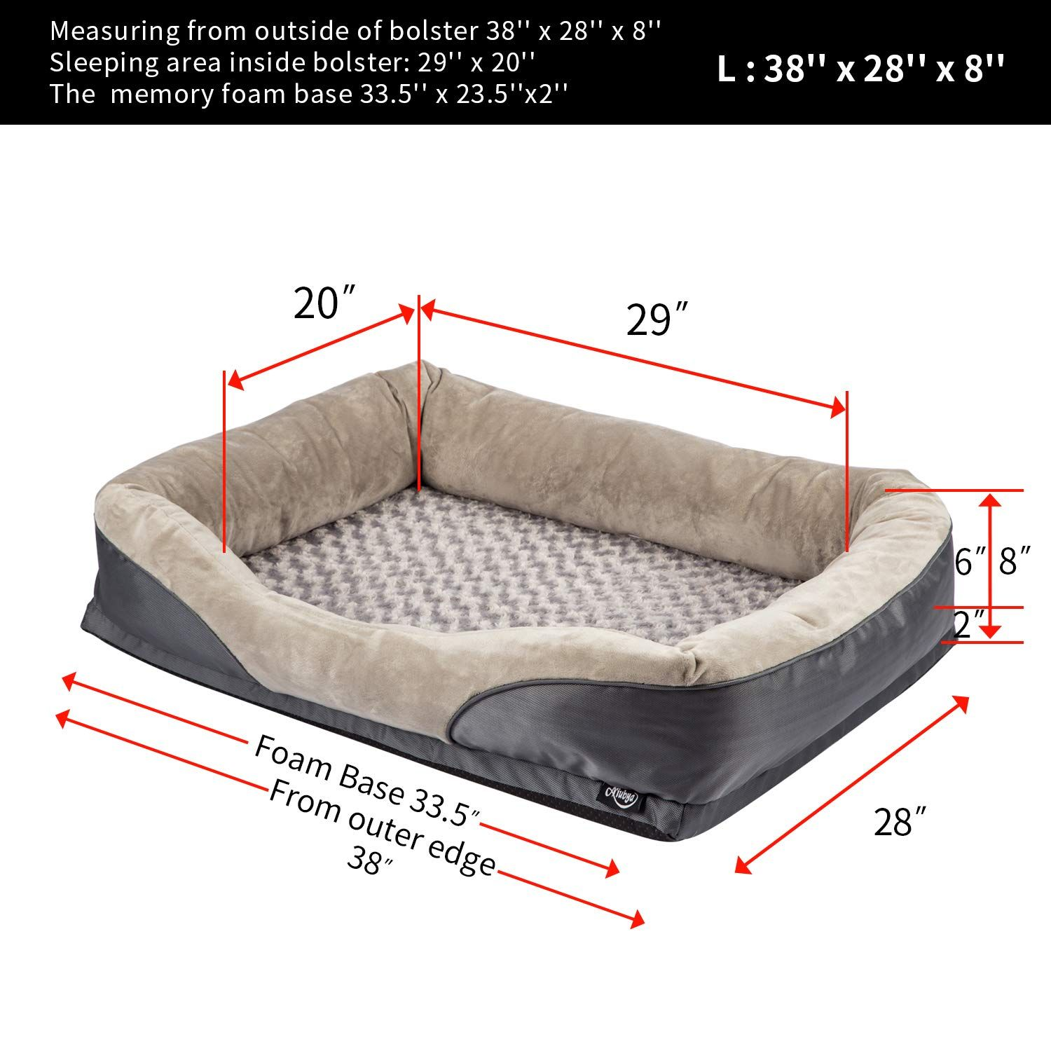 Niubya Orthopedic Dog Bed Removable Washable Cover Memory Foam Dog Bed Pillows Durable Water Proof Liner P Dog Pillow Bed Dog Bed Furniture Memory Foam Dog Bed