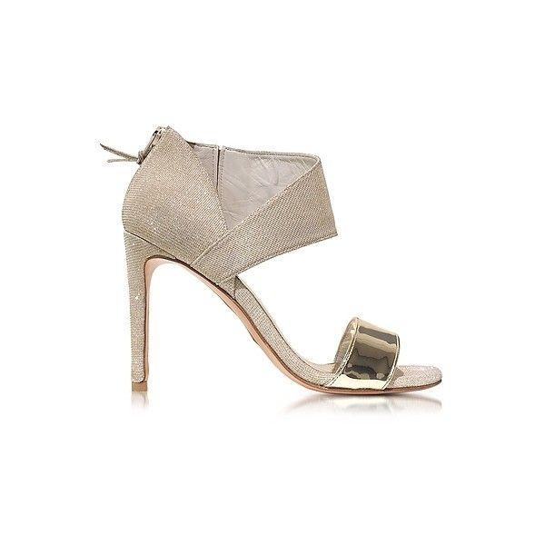 Stuart Weitzman Designer Shoes, Getonup Pale Nocturne Textured-lame Sandals