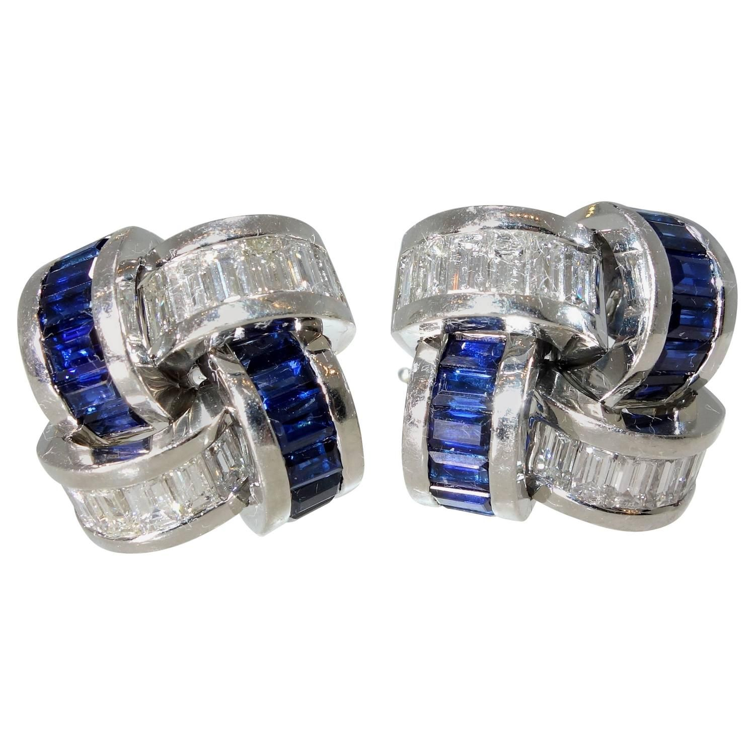 Asprey Sapphire Diamond Platinum Earrings   From a unique collection of vintage more earrings at https://www.1stdibs.com/jewelry/earrings/more-earrings/