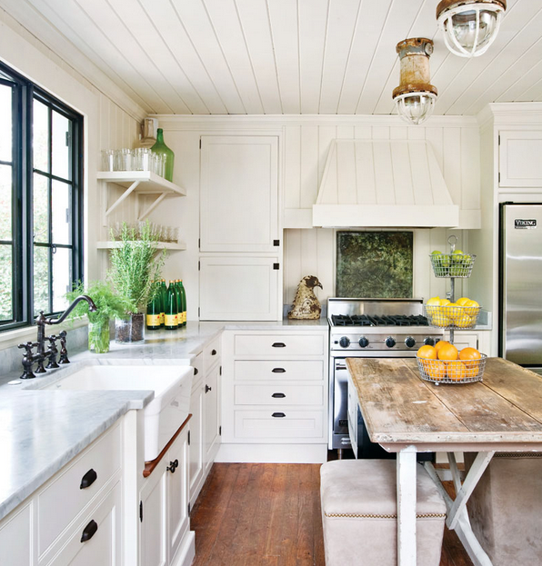 farmhouse style/I especially like inset cabinet doors and drawers .......via Talk of the House