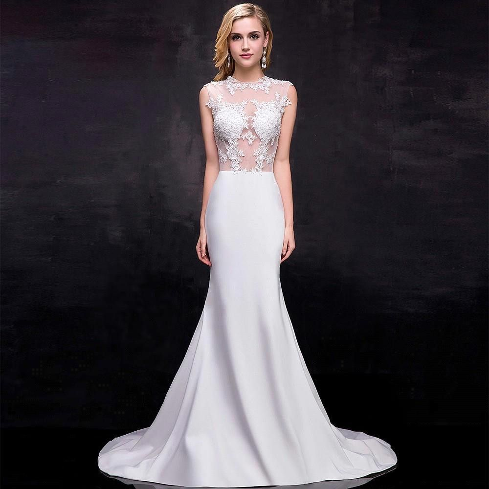 Cheap White Ivory Wedding Dresses Mermaid Lace Appliques: Vestido De Noiva 2017 New 100% Real Cheap Price Mermaid