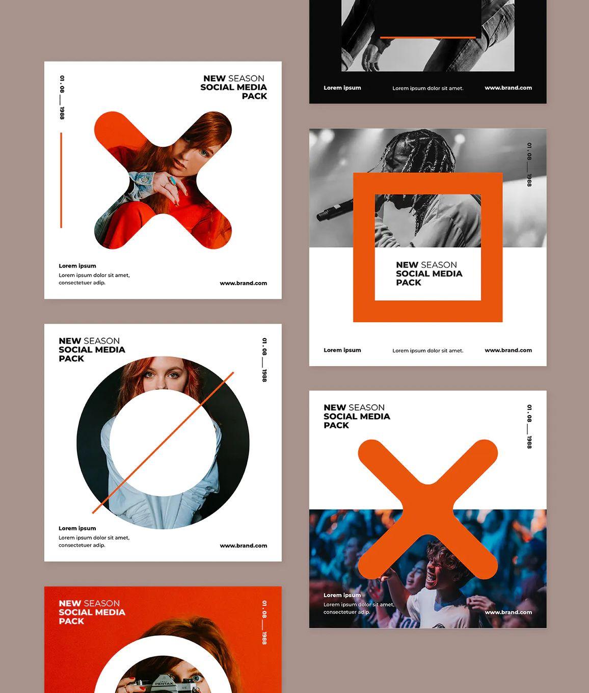 6 Creative Social Media Post Templates Social Media Design Inspiration Social Media Design Social Media Post