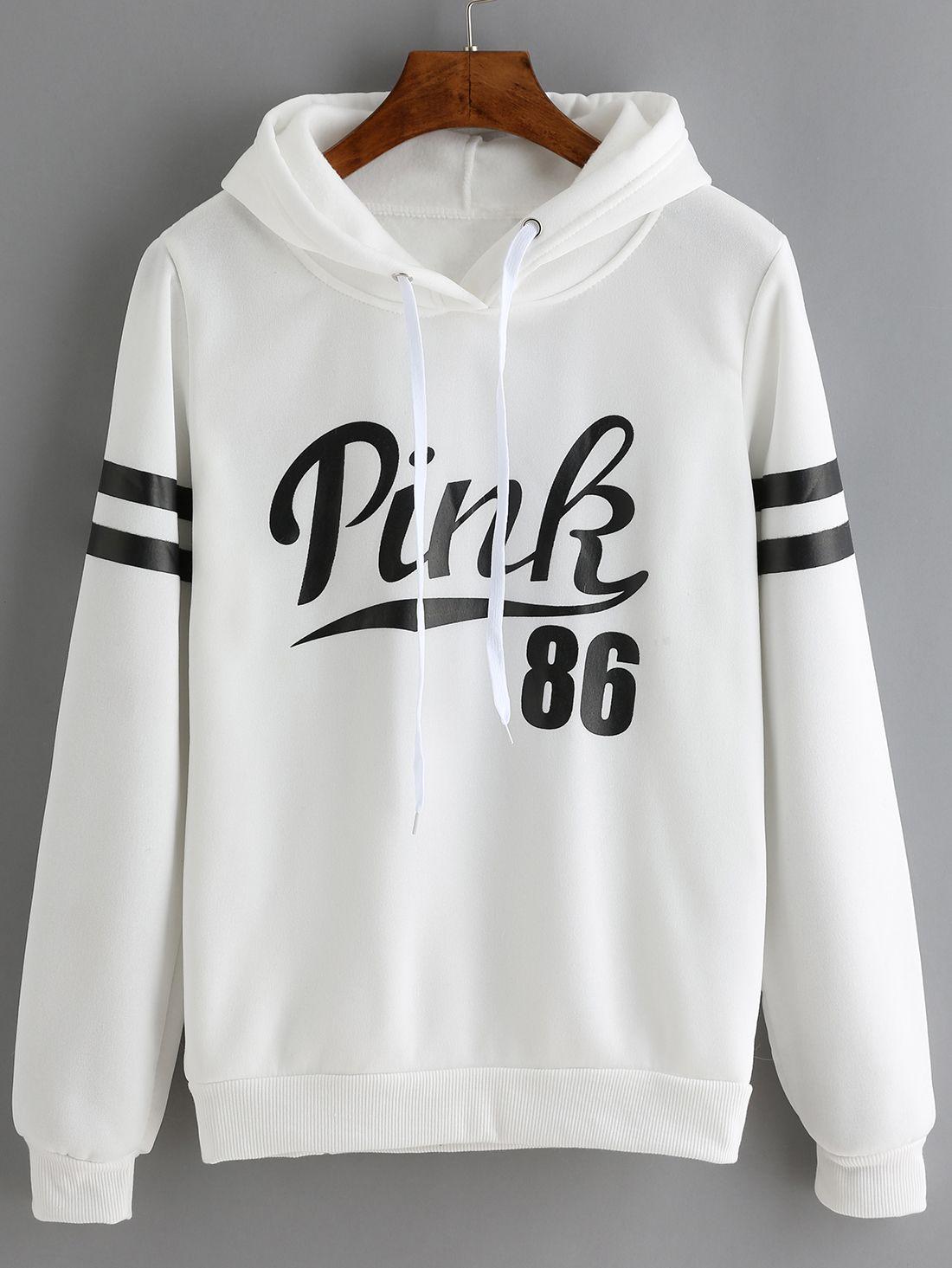 White Drawstring Hooded Letters Print Sweatshirt -shein