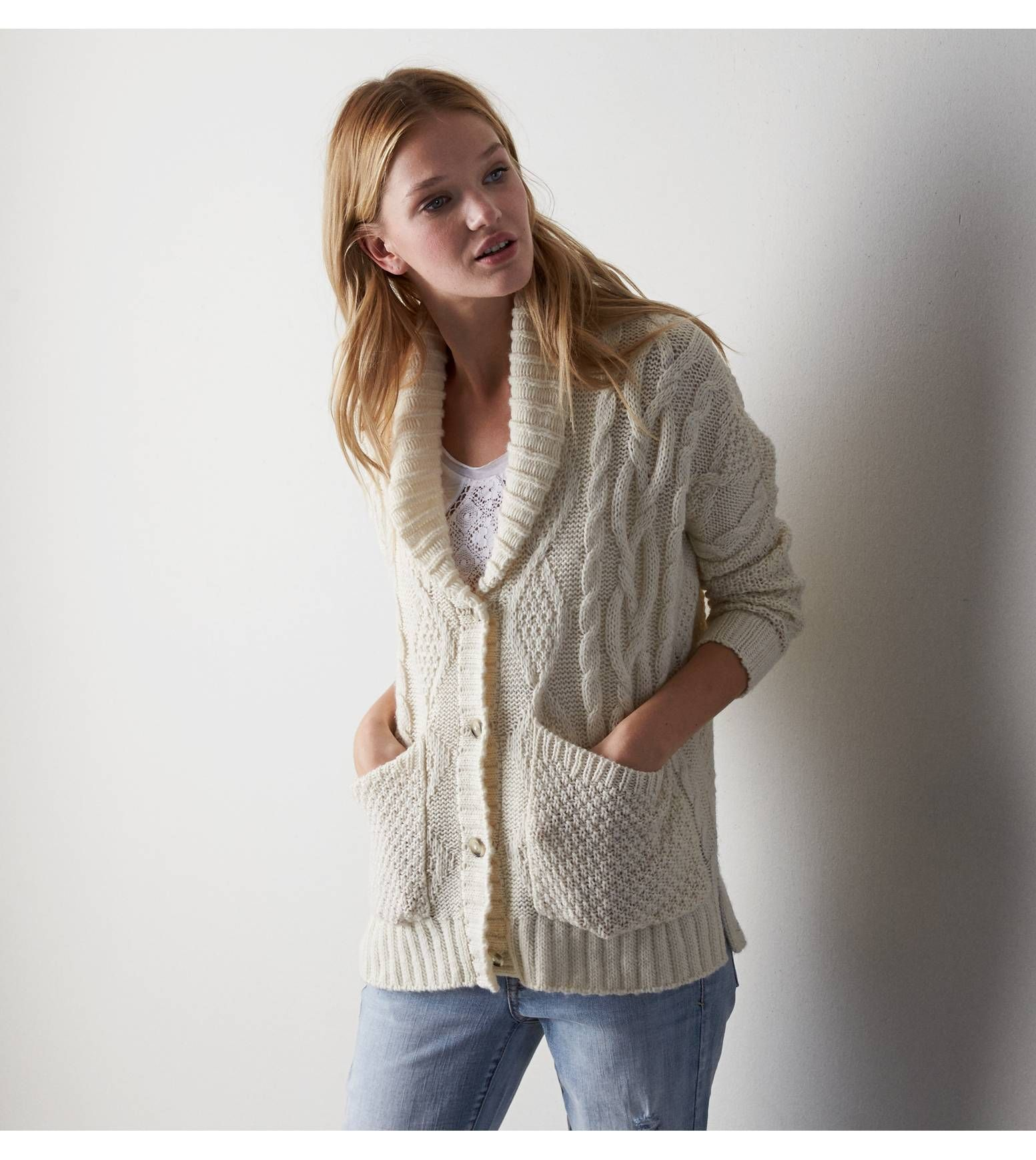 AEO Open Knit Cardigan | More Cable knit cardigan and Cable ...
