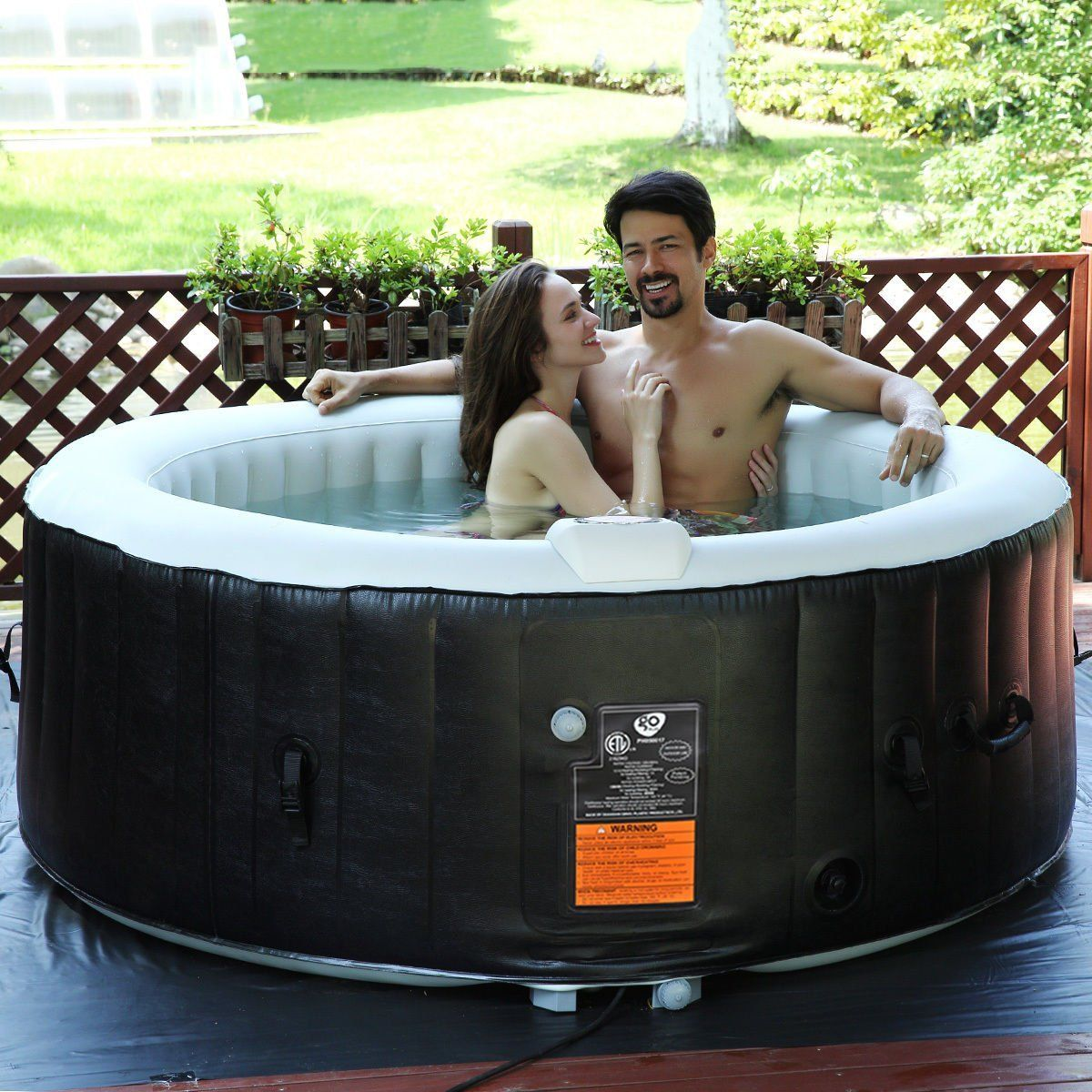 Goplus 4 Person Portable Inflatable Hot Tub For Outdoor Jets