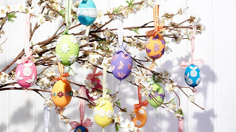 Colourful hanging egg decorations easter gifts and decoration colourful hanging egg decorations easter gifts and decoration ideas tesco living negle Image collections