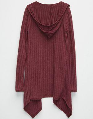 FULL TILT Essential Ribbed Girls Hooded Wrap Sweater Burgundy ...
